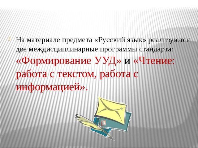 На материале предмета «Русский язык» реализуются две междисциплинарные програ...