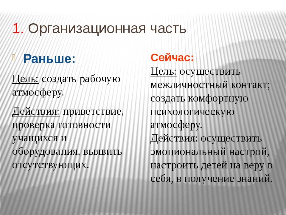 1. Организационная часть Раньше: Цель: создать рабочую атмосферу. Действия: п...