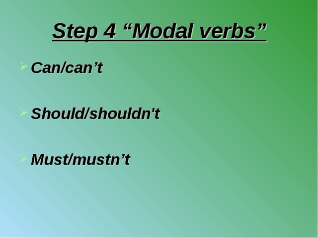 "Step 4 ""Modal verbs"" Can/can't Should/shouldn't Must/mustn't"