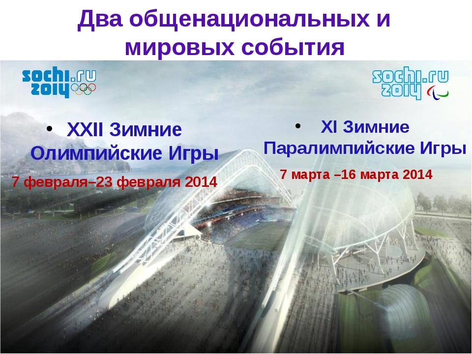 XI Зимние Паралимпийские Игры 7 марта –16 марта 2014 XXII Зимние Олимпийские...