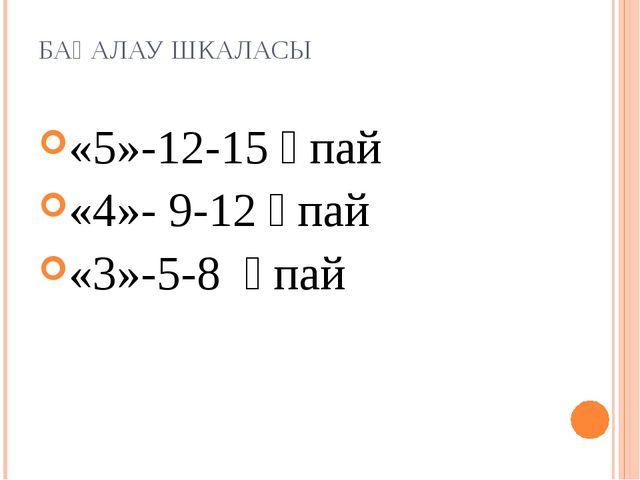 БАҒАЛАУ ШКАЛАСЫ «5»-12-15 ұпай «4»- 9-12 ұпай «3»-5-8 ұпай