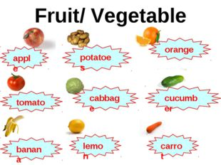 Fruit/ Vegetable apple potatoes orange tomato cabbage cucumber banana lemon c