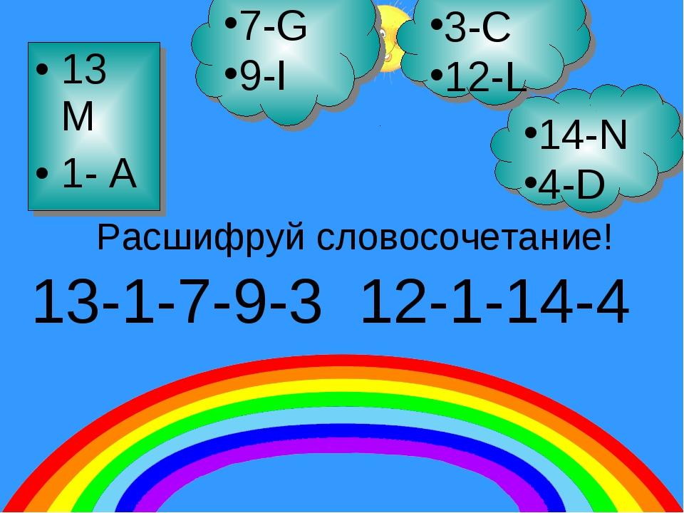 13 M 1- A 7-G 9-I 14-N 4-D 3-C 12-L 13-1-7-9-3 12-1-14-4 Расшифруй словосочет...