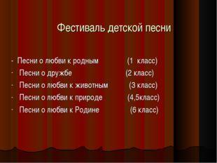 Фестиваль детской песни - Песни о любви к родным (1 класс) Песни о дружбе (2