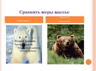 Сравнить меры массы: Белый медведь 1 т Бурый медведь 750 кг Бурый медведь 750
