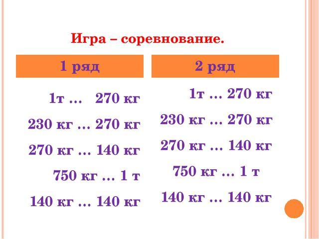 Игра – соревнование. 1т … 270 кг 230 кг … 270 кг 270 кг … 140 кг 750 кг … 1 т...