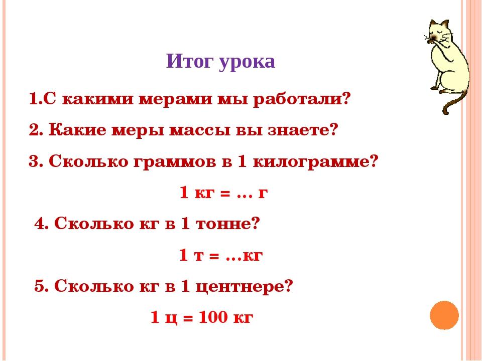 Итог урока 1.С какими мерами мы работали? 2. Какие меры массы вы знаете? 3. С...
