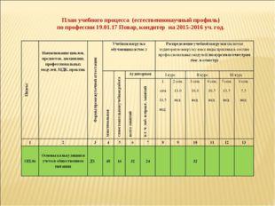 План учебного процесса (естественнонаучный профиль) по профессии 19.01.17 Пов
