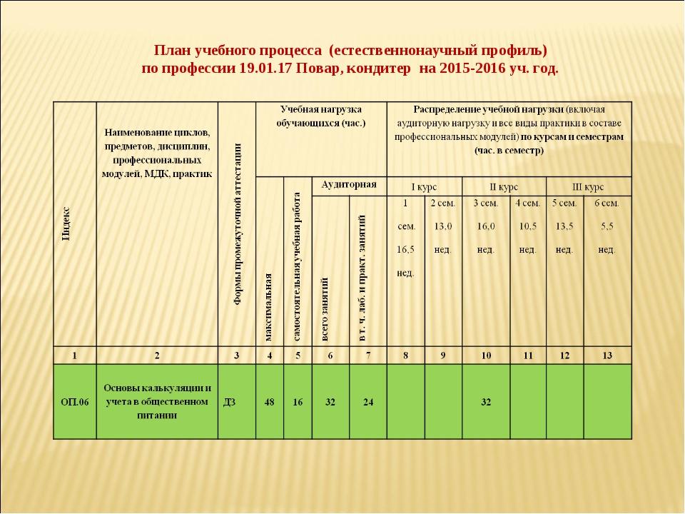 План учебного процесса (естественнонаучный профиль) по профессии 19.01.17 Пов...