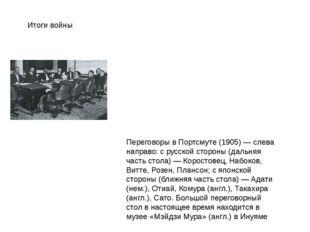 Итоги войны Переговоры в Портсмуте (1905) — слева направо: с русской стороны