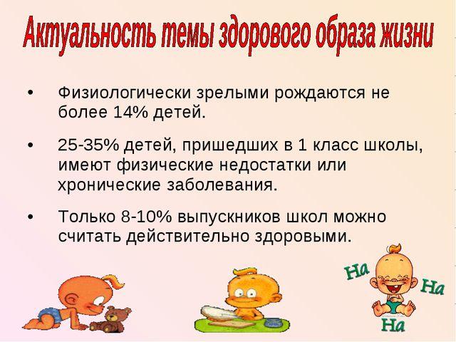 Физиологически зрелыми рождаются не более 14% детей. 25-35% детей, пришедших...