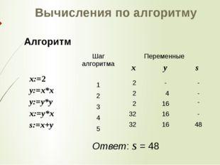 х:=2 у:=х*х у:=у*у х:=у*х s:=x+y 2 2 4 2 32 32 16 16 48 16 - - - - - Вычислен