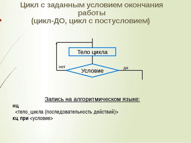 Цикл с заданным условием окончания работы (цикл-ДО, цикл с постусловием) Запи...