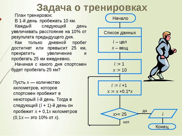 Задача о тренировках План тренировок: В 1-й день пробежать 10 км. Каждый след...