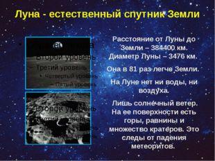 Луна - естественный спутник Земли Расстояние от Луны до Земли – 384400 км. Ди