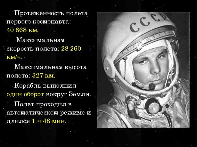Протяженность полета первого космонавта: 40868 км. Максимальная скорость пол...
