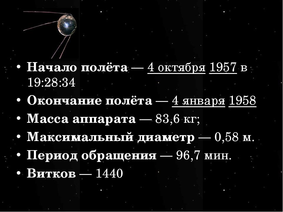 Начало полёта— 4 октября 1957 в 19:28:34 Окончание полёта— 4 января 1958 Ма...