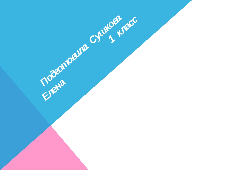 Подготовила Сушкова Елена 1 класс