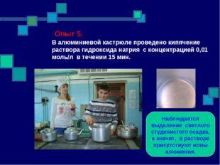 Опыт 5. В алюминиевой кастрюле проведено кипячение раствора гидроксида натри