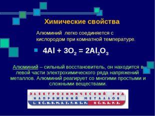 Алюминий – сильный восстановитель, он находится в левой части электрохимическ