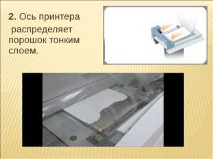 2.Ось принтера 2.Ось принтера  распределяет порошок тонким слоем.