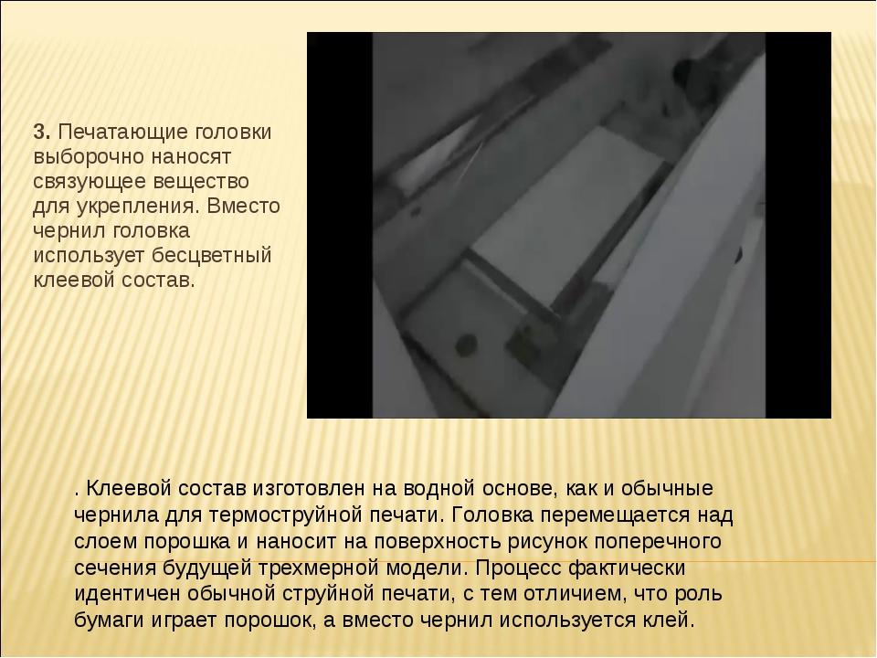 3.Печатающие головки выборочно наносят связующее вещество для укреплени...