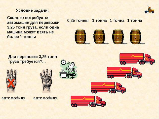 1 тонна 1 тонна 1 тонна 0,25 тонны Для перевозки 3,25 тонн груза требуется?.....