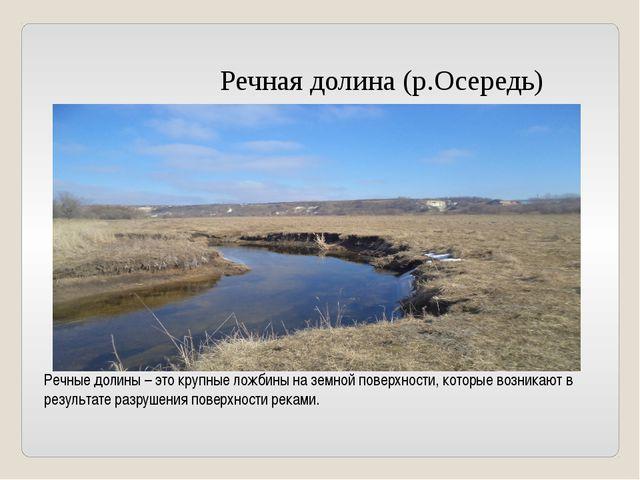 Речная долина (р.Осередь) Речные долины – это крупные ложбины на земной пове...