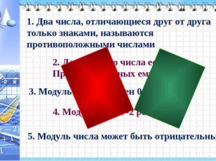 1. Два числа, отличающиеся друг от друга только знаками, называются противоп