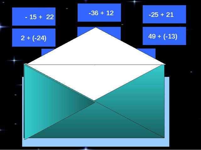 -12 + 32 14 + (-26) -14 + 16 - 15 + 22 -36 + 12 -25 + 21 49 + (-13) 2 + (-24...