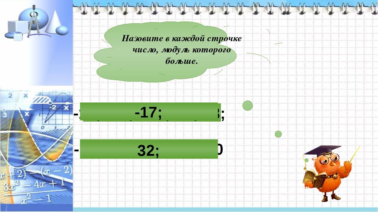 Назовите в каждой строчке число, модуль которого больше. -16; -26; 28; 32; 0...