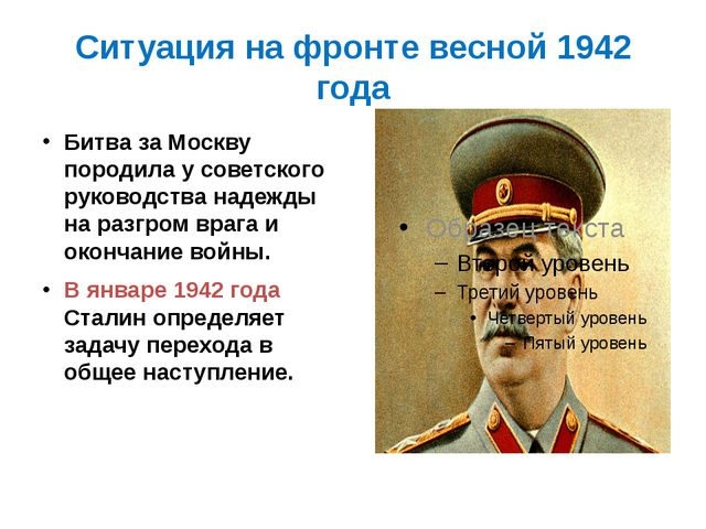 Ситуация на фронте весной 1942 года Битва за Москву породила у советского рук...