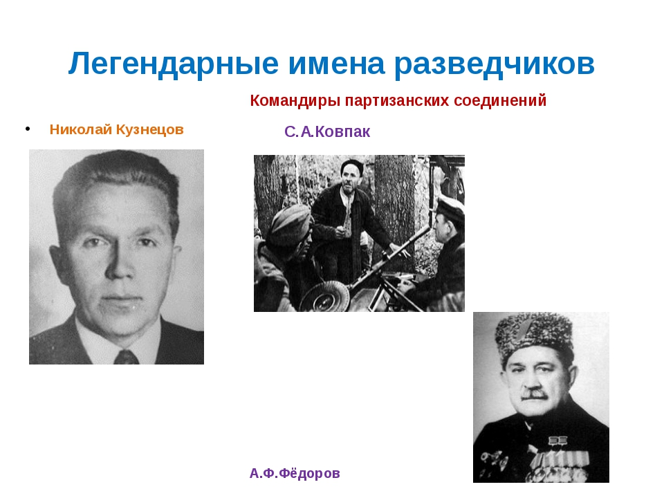 Легендарные имена разведчиков Николай Кузнецов Командиры партизанских соедине...