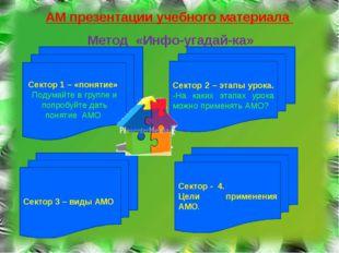 АМ презентации учебного материала Метод «Инфо-угадай-ка» Сектор 1 – «понятие»