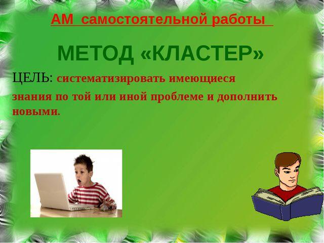 АМ самостоятельной работы МЕТОД «КЛАСТЕР» ЦЕЛЬ: систематизировать имеющиеся з...