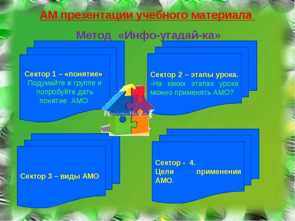 АМ презентации учебного материала Метод «Инфо-угадай-ка» Сектор 1 – «понятие»...