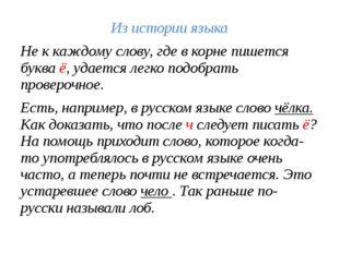 Из истории языка Не к каждому слову, где в корне пишется буква ё, удается лег
