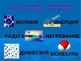 МОЛНИЯ РАДУГА НАГРЕВАНИЕ ДИФФУЗИЯ МОЛЕКУЛА ИНЕРЦИЯ