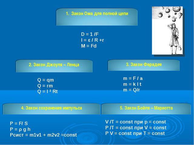 D = 1 /F I = ε / R +r M = Fd Q = qm Q = rm Q = I 2 Rt m = F / a m = k I t m =...