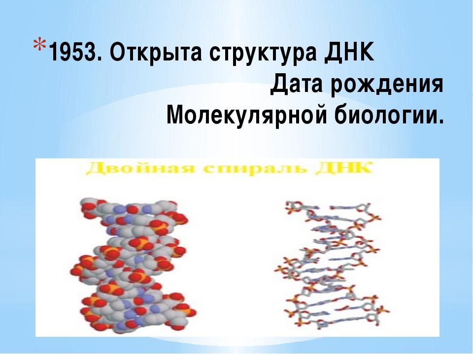 1953.ОткрытаструктураДНК Дата рождения Молекулярной биологии.
