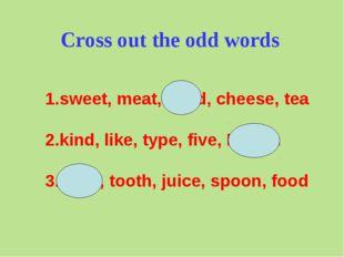 1.sweet, meat, head, cheese, tea 2.kind, like, type, five, British 3.cook, to