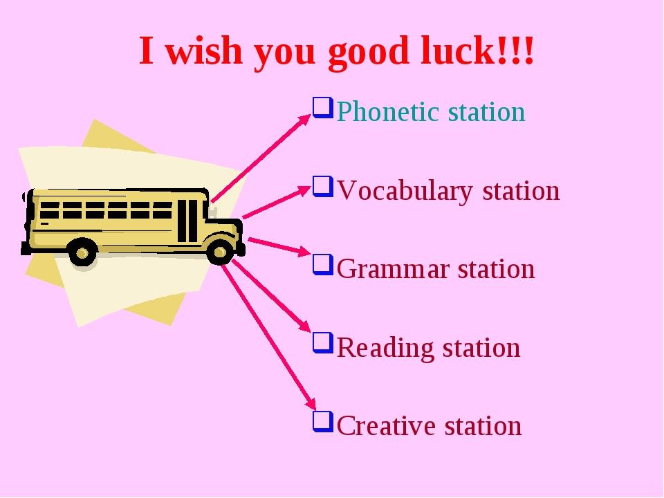Phonetic station Vocabulary station Grammar station Reading station Creative...