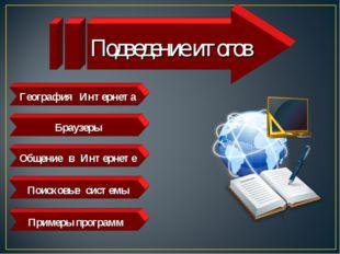 География Интернета Браузеры Общение в Интернете Поисковые системы Примеры пр