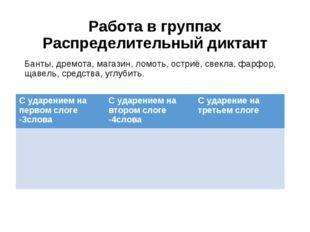 Работа в группах Распределительный диктант Банты, дремота, магазин, ломоть, о