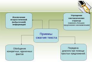 Приемы сжатия текста Исключение второстепенной (избыточной) информации Обобще