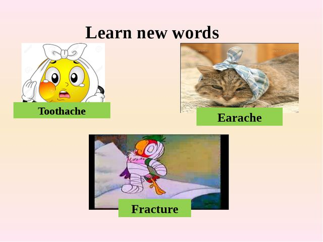 Learn new words Toothache Earache Fracture Fracture