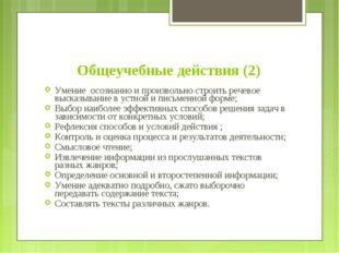 Общеучебные действия (2) Умение осознанно и произвольно строить речевое выска