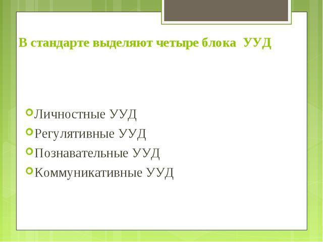 В стандарте выделяют четыре блока УУД Личностные УУД Регулятивные УУД Познава...
