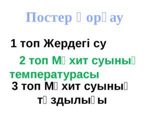 Постер қорғау 2 топ Мұхит суының температурасы 1 топ Жердегі су 3 топ Мұхит с