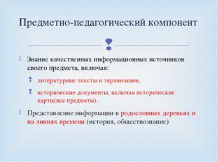 Знание качественных информационных источников своего предмета, включая: литер